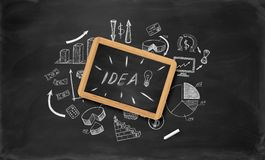 Business sketches on chalkboard Stock Images