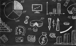 Business sketches on chalkboard Royalty Free Stock Images