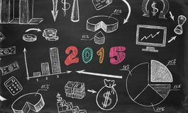 Business sketches on chalkboard Stock Photography