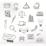 Business sketches of icons. Set with vector business sketches of icons Stock Photo