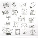 Business sketches icons. Set with vector business sketches icons Royalty Free Stock Photos