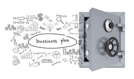 Business sketches from an open safe Royalty Free Stock Photography