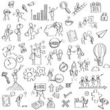 Business in sketching. Sketching and drawing of businessman character in various concept of business, finance, feeling, emotion, working, vision and strategy vector illustration