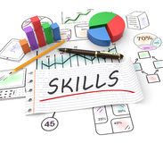 Business skills concept. Business skills, handwritten on notebook paper with business graphs Royalty Free Stock Photos