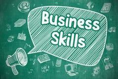 Business Skills - Doodle Illustration on Blue Chalkboard. Stock Photo
