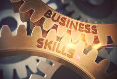 Business Skills on the Golden Gears. 3D Illustration. Business Skills on the Mechanism of Golden Metallic Gears. Business Skills on Mechanism of Golden Metallic Royalty Free Stock Photos