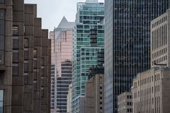 Business skyscrapers in the downtown of Montreal, Canada, taken in the center business district of the main city of Quebec. Picture of skyscrapers during a stock photography