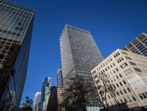 Business skyscrapers in the dowtown of Montreal, Canada, taken in the center business district of the main city of Quebec. MONTREAL, CANADA - NOVEMBER 4, 2018 stock images