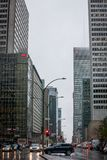 Business skyscrapers in the dowtown of Montreal, Quebec, on a rainy day, taken on Rene Levesque Boulevard. MONTREAL, CANADA - NOVEMBER 6, 2018: Picture of stock photos