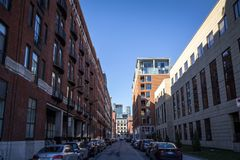 Business skyscrapers in the dowtown of Montreal, seen from a nearby street of the main city of Quebec. MONTREAL, CANADA - NOVEMBER 4, 2018: ..Picture of royalty free stock photography