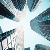 Business skyscrapers, high-rise buildings, architecture view to the sky, sun. Economical concept, financial. 3d. Business skyscrapers, high-rise buildings Stock Photo