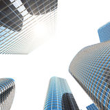 Business skyscrapers, high-rise buildings, architecture view to the sky, sun. Economical concept, financial. 3d Stock Images