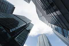 Business skyscrapers, high-rise office buildings. Urban skyline with business skyscrapers, high-rise office buildings in Hong Kong city Royalty Free Stock Photography