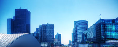 Business skyscrapers panorama in blue tint. Paris, France Stock Image