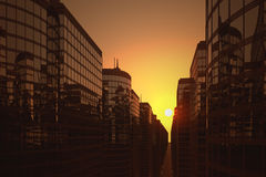 Business skyscrapers during sunset Stock Images
