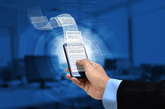 Business on smart phone. Businessman reading business or finacial report on smart phone concept via internet connection Stock Image