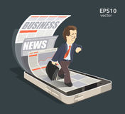 Business smartphone. Mobile internet business news creative concept color 3d illustration. Young smile successful businessman reading new press using his mobile Royalty Free Stock Photography