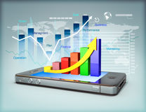Business on a smartphone. Modern media touch screen technology, smartphone connecting information to the world, line graph business growth and finance concept Royalty Free Stock Image