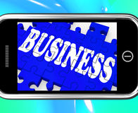 Business On Smartphone Showing Commercial Transactions Royalty Free Stock Images