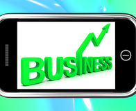 Business On Smartphone Shows Increasing Sales Royalty Free Stock Images
