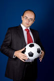 Business with soccer ball (football) Royalty Free Stock Photo