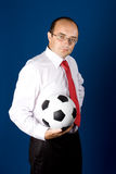 Business with soccer ball (football) Royalty Free Stock Image