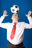 Business with soccer ball (football) Royalty Free Stock Images