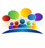 Business social media network speech bubbles logo. Business social media network speech bubbles. Talking people with comments logo vector image Stock Photography