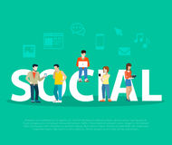 Business Social network promotion Flat people on l stock illustration
