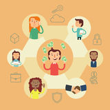 Business social network vector concept. Royalty Free Stock Images