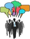 Business social people walk talk color bubbles Stock Image
