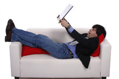 Business in the sofa Stock Image