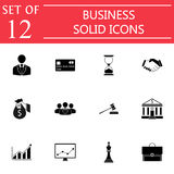 Business solid icon icon set, finance managment Royalty Free Stock Photo