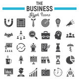 Business solid icon set, finance signs collection. Business solid icon set, finance symbols collection, office vector sketches, logo illustrations, seo glyph Royalty Free Stock Photo