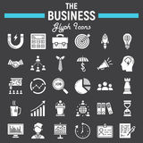 Business solid icon set, finance signs collection. Business solid icon set, finance symbols collection, office vector sketches, logo illustrations, seo glyph Royalty Free Stock Image