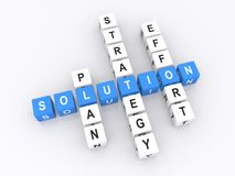 Business solution. Letters blocks in shape of business solution crossword with words plan, strategy and effort, white background Royalty Free Stock Photography