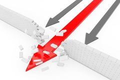 Business Solution Concept. Red Arrow Breaking Break Wall. 3d Ren. Business Solution Concept. Red Arrow Breaking Break Wall on a white background. 3d Rendering Stock Image