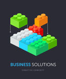 Business solution flat isometric concept. Vector illustration of plastic building blocks. Royalty Free Stock Image