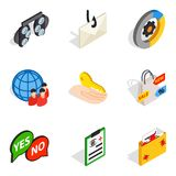 Business solution icons set, isometric style. Business solution icons set. Isometric set of 9 business solution vector icons for web isolated on white background Stock Photo