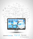 Business Solution and Idea Conceptual background with a desktop pc Stock Images