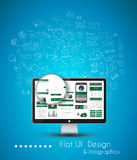 Business Solution and Idea Conceptual background with a desktop pc Royalty Free Stock Image
