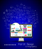 Business Solution and Idea Conceptual background with a desktop pc Royalty Free Stock Images