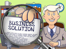Business Solution through Magnifying Glass. Doodle Design. Stock Photography