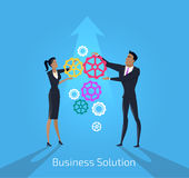 Business solution. Man and woman Stock Images