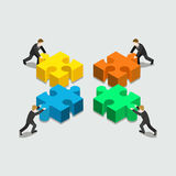 Business solution in partnership concept flat 3d web isometric. Infographic vector. Four businessmen pushing pieces of puzzle. Creative people collection Stock Image