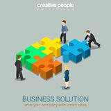 Business solution in partnership concept flat 3d web isometric. Business solution smart idea concept flat 3d web isometric infographic vector. Four businessmen Royalty Free Stock Photography