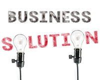 Business solution phrase and light bulb, hand writing, Marketing Stock Photography