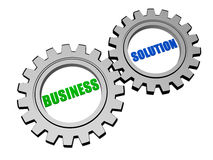 Business solution in silver grey gears Stock Photography