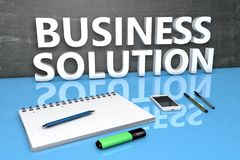 Business Solution text concept. Business Solution - text concept with chalkboard, notebook, pens and mobile phone. 3D render illustration Stock Photos