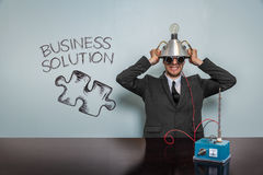 Business Solution text with vintage businessman Stock Image